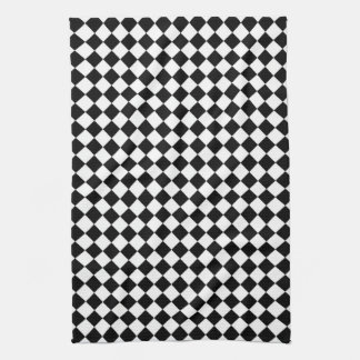 Black White Diamond Check pattern Kitchen Towels