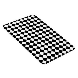 Black White Diamond Check pattern Magnet