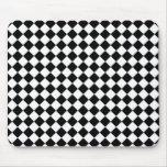 Black White Diamond Check pattern Mouse Pad