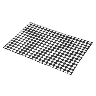 Black White Diamond Check pattern Cloth Placemat