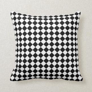 Black White Diamond Check pattern Throw Pillow