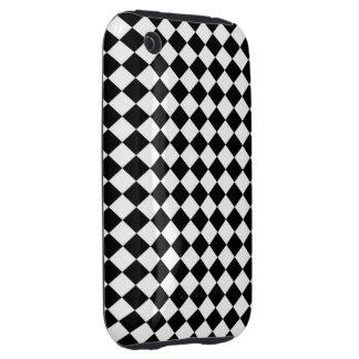 Black White Diamond Check pattern Tough iPhone 3 Cover
