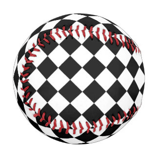 Black White Diamond Checkerboard Baseball