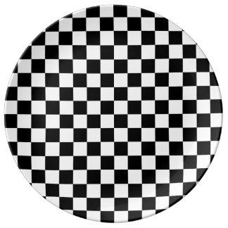Black White Diamond Checkerboard Dinner Plate