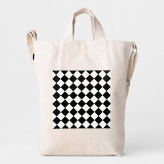 Black White Diamond Checkerboard Duck Bag