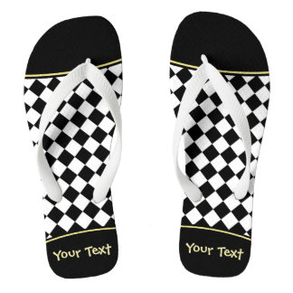 Black White Diamond Checkerboard Flip Flops