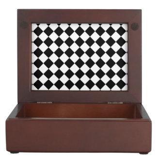 Black White Diamond Checkerboard Keepsake Box