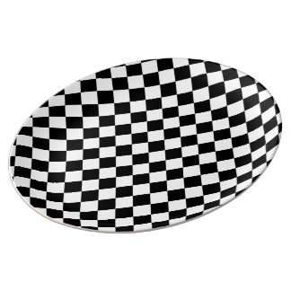 Black White Diamond Checkerboard Porcelain Plates