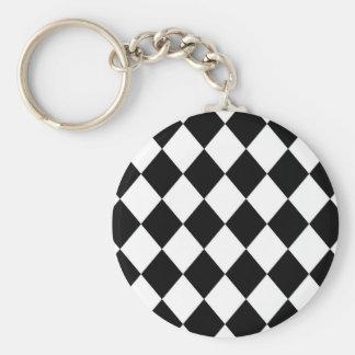Black & White Diamond Checkered Pattern Keychain