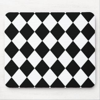 Black & White Diamond Checkered Pattern Mouse Pad