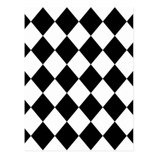 White Diamond Truck Color Code: Black & White Diamond Checkered Pattern Postcard