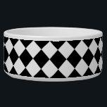 "Black White Diamond Checkers Bowl<br><div class=""desc"">Black White Diamond Checkers  diamond checkers square check patterns  black and white checkerboard patterns</div>"