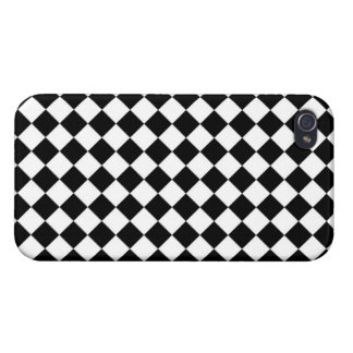 Black White Diamond Checkers pattern iPhone 4 Cover