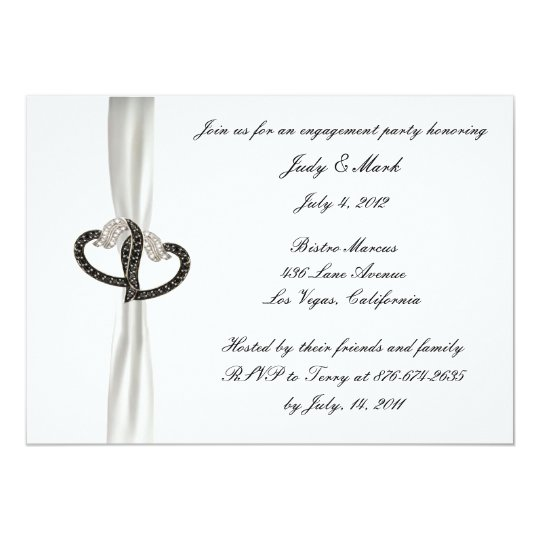 Black & White Diamond Engagement Party Invitation
