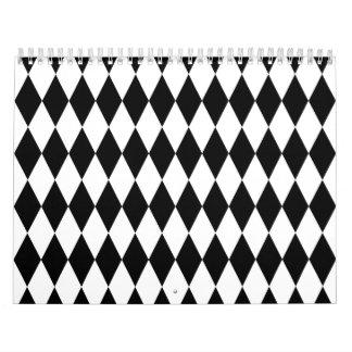 Black & White Diamond Harlequin Pattern Wall Calendars