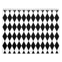 Black & White Diamond Harlequin Pattern Calendar