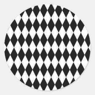 Black & White Diamond Harlequin Pattern Classic Round Sticker
