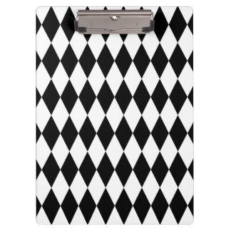 Black & White Diamond Harlequin Pattern Clipboard