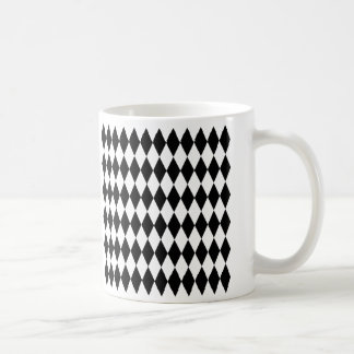 Black & White Diamond Harlequin Pattern Coffee Mug