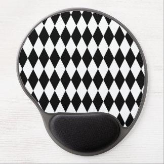 Black & White Diamond Harlequin Pattern Gel Mouse Pad