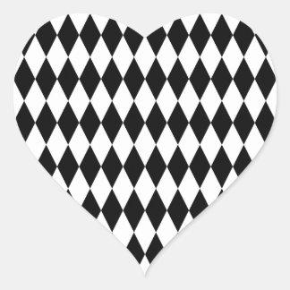 Black & White Diamond Harlequin Pattern Heart Sticker