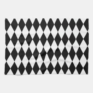 Black & White Diamond Harlequin Pattern Hand Towel