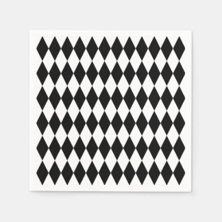 Black & White Diamond Harlequin Pattern Paper Napkins