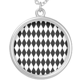 Black & White Diamond Harlequin Pattern Silver Plated Necklace