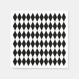 Black White Diamond Harlequin Pattern Paper Napkins