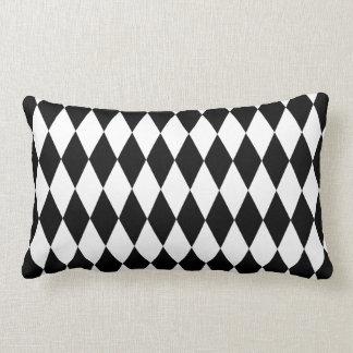 Black & White Diamond Harlequin Pattern Throw Pillow