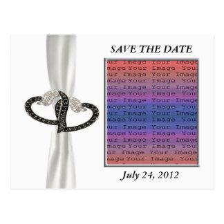 Black & White Diamond Heart Save The Date Postcard