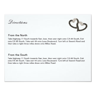 Black & White Diamond Hearts Direction Card