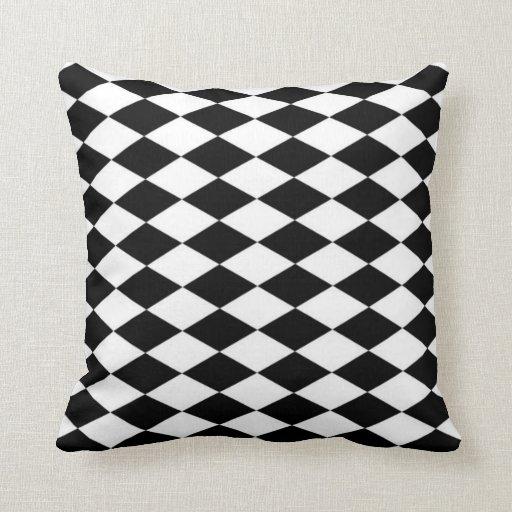 Black Diamond Throw Pillows : Black & White Diamond Pattern Throw Pillow Zazzle
