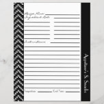 """Black White Diamond Zigzag Chevrons Recipe Sheets<br><div class=""""desc"""">Customizable recipe sheets in a chic and trendy diamond zigzag pattern with ample writing space on front and back.  Personalize the section header with category name of your choice.</div>"""
