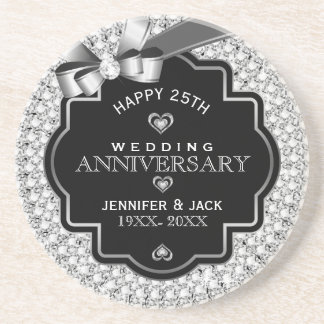 Black & White Diamonds 25th Wedding Anniversary Drink Coaster
