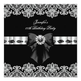 Black White Diamonds Lace Birthday Party 2 5.25x5.25 Square Paper Invitation Card