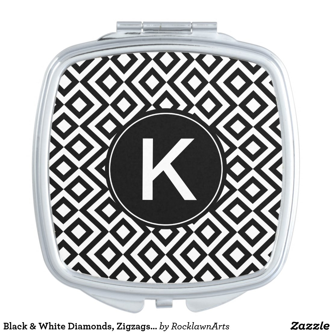 Black & White Diamonds, Zigzags, Custom Monogram Makeup Mirror