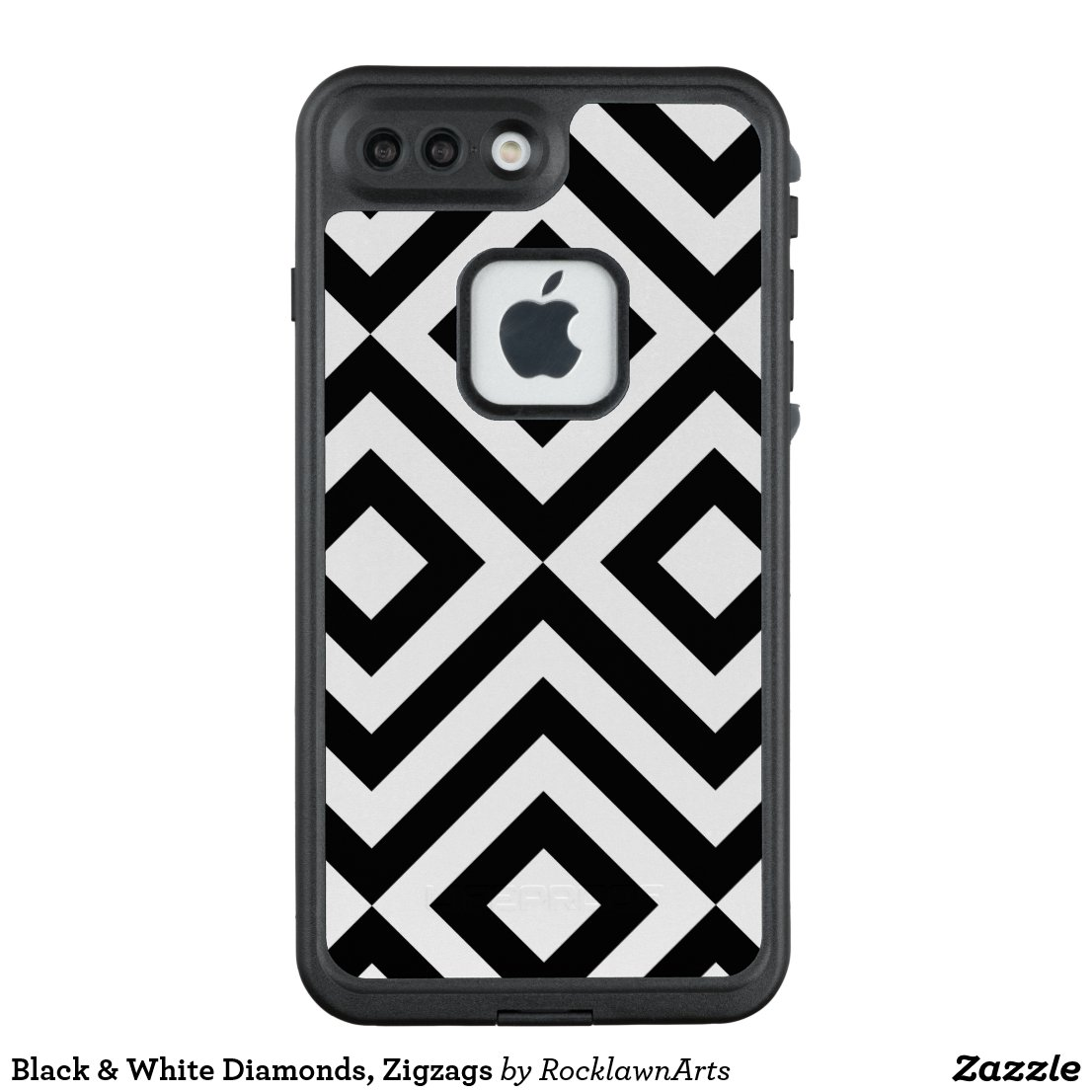 Black & White Diamonds, Zigzags LifeProof® FRĒ® iPhone 7 Plus Case