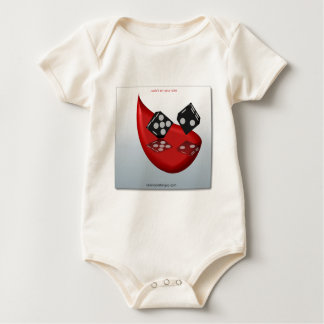 black&white dice on red tear design rompers
