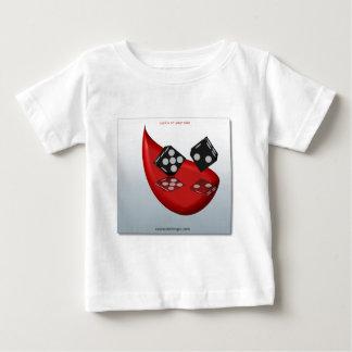 black&white dice on red tear design t-shirt