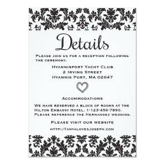 Black & White Directions Details Floral Damask Card