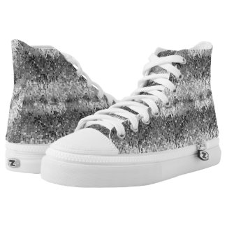 Black & White Disco Glitter And Sparkles Printed Shoes