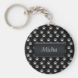 Black & White Dog Paws Monogram Keychain