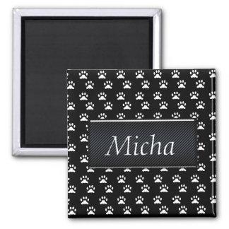 Black & White Dog Paws Monogram 2 Inch Square Magnet