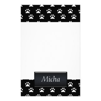 Black & White Dog Paws Monogram Stationery