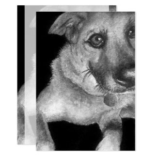 Black & White Dog Portrait Hand Painted Card