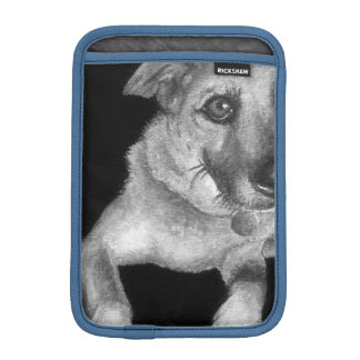 Black & White Dog Portrait Hand Painted Sleeve For iPad Mini
