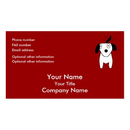 black white dog red orange bus card template business card template zazzle. Black Bedroom Furniture Sets. Home Design Ideas