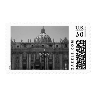 Black White Dome of St Peters Basilica Rome Stamp