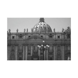 Black White Dome of St Peters Rome Wrapped Canvas